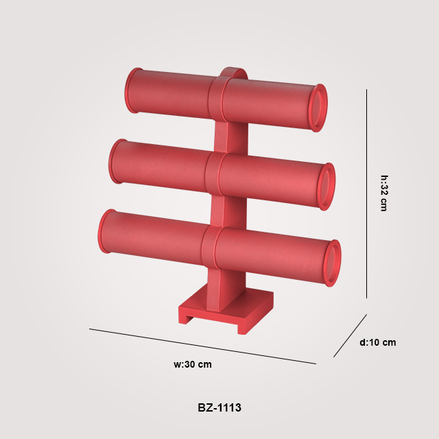 - 3 Katlı Bilezik Takı Aksesuar Standı BZ-1113 Kırmızı