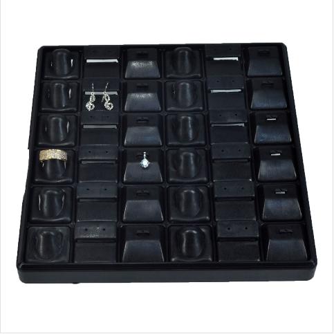 - 3'lü Takım Tablası 32x25 cm Siyah Plastik
