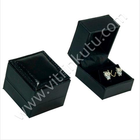 - Rugan Küpe Kutusu 4.5x5 cm Deri Siyah