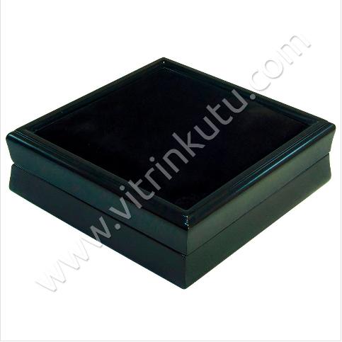 - Ahşap Set Takı Kutusu 16x16 cm Üstü Kadife Siyah