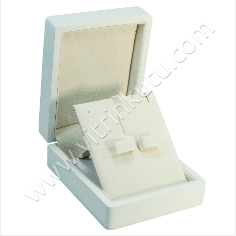 - Ahşap Üçlü Set Takı Kutusu Cilalı 9x11 cm Beyaz