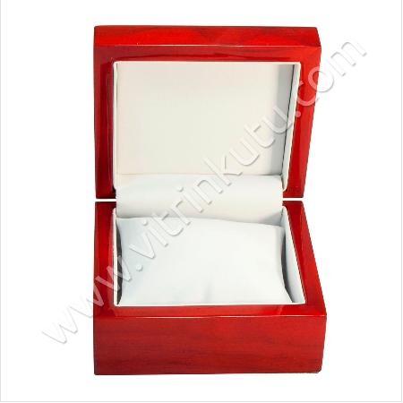 - Bileklik Saat Kutusu 10.5x10 cm Ahşap Cilalı Yastıklı