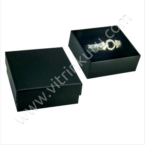 - Bilezik Kelepçe Kutusu 9x9 cm Karton Siyah