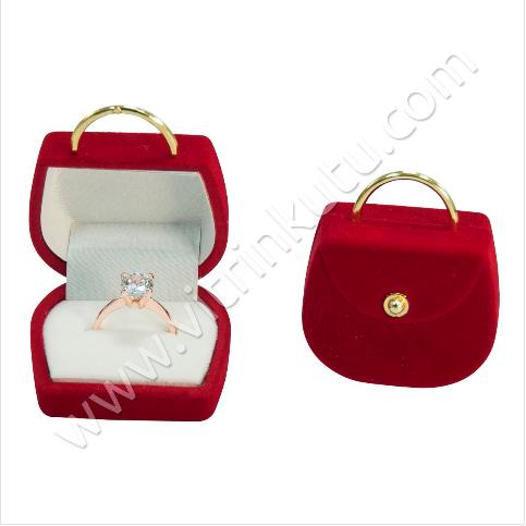 - Çanta Yüzük Kutusu 4x3 cm Flok Kırmızı