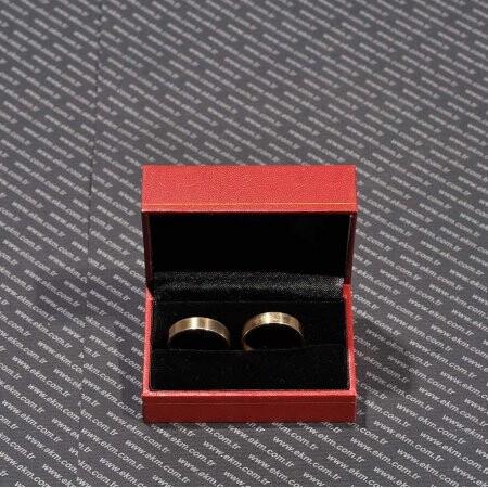 - Kartier Çift Alyans Kutusu Altın Yaldız Desenli Kırmızı