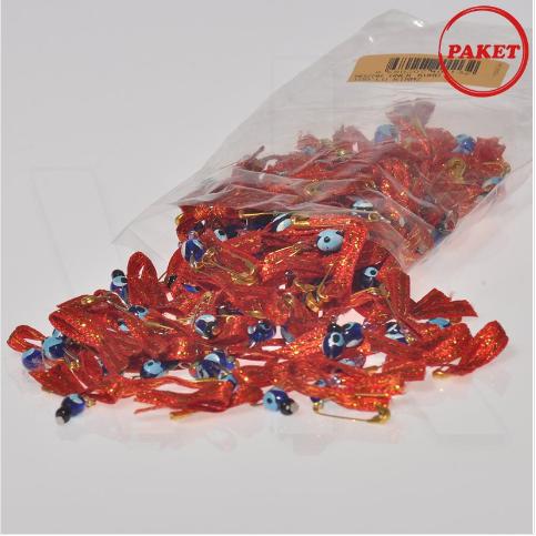 - Çengel İğneli Kırmızı Kurdeleli Nazarbocuğu 100'lü Paket