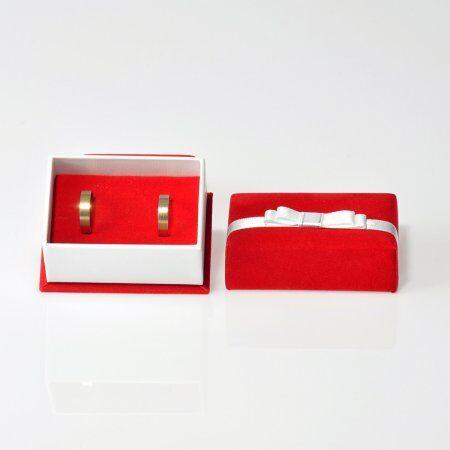 - Çift Alyans Kutusu Kurdele Kuşaklı Kadife Kırmızı