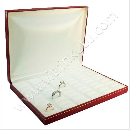 - Çoklu Yüzük Kutusu 30 Bölmeli 24.5x19 cm Kırmızı/Beyaz Kartier