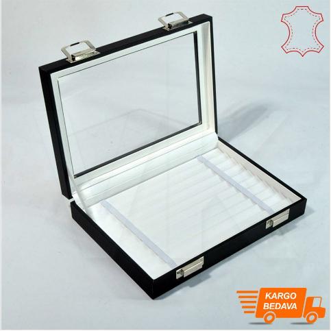 - Çoklu Bileklik Takı Kutusu 24x17 cm Cam Kapaklı Beyaz