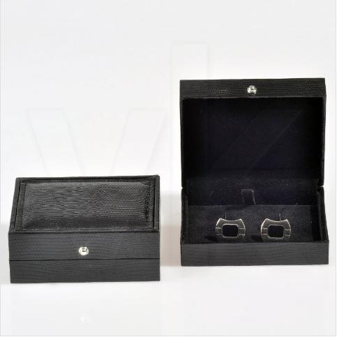 - Kare Kol Düğmesi Kutusu 9x7.5 cm Siyah Deri