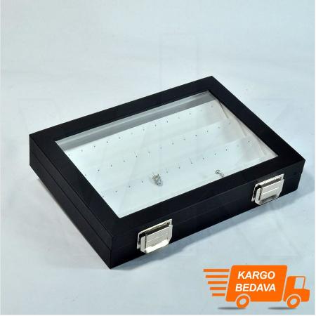 - Çoklu Küpe Kutusu 24x17 cm Cam Kapaklı Deri