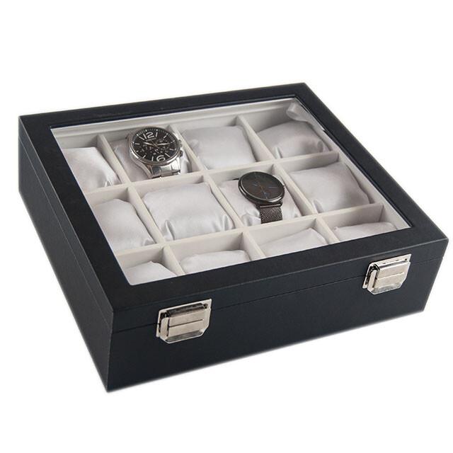 - Çoklu Saat Kutusu 12'li Beyaz Yastıklı Cam Kapaklı Deri 28x24 cm