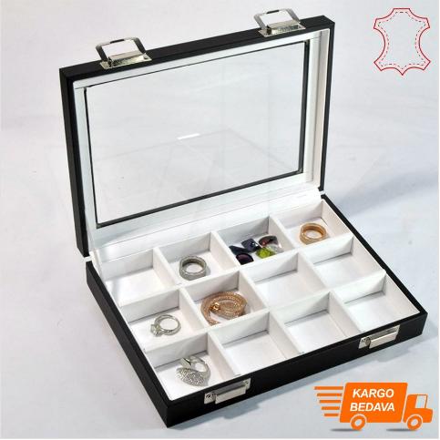 - Çoklu Takı Kutusu Deri 12 Bölmeli 17x24 cm Cam Kapaklı Beyaz