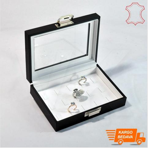 - Çoklu Yüzük Kutusu 15 Tırnaklı 17x12 cm Siyah Deri Beyaz