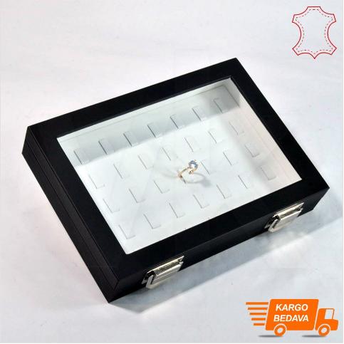 - Çoklu Yüzük Kutusu 40 Tırnaklı 24x17 cm Siyah Deri