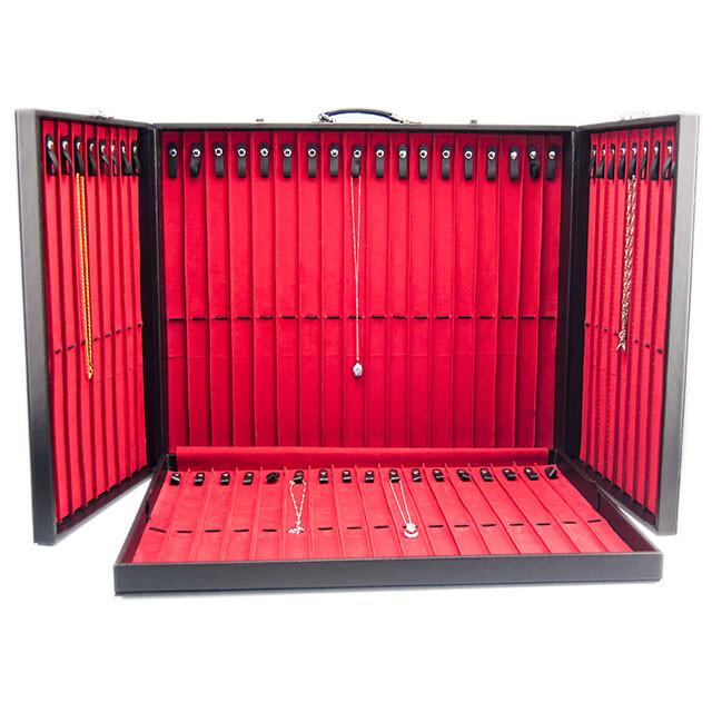 - Deri Kolyelik Takı Çantası 53 Kanallı Siyah/Kırmızı