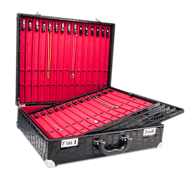 - Deri Çoklu Kolyelik Takı Çantası Siyah/Kırmızı