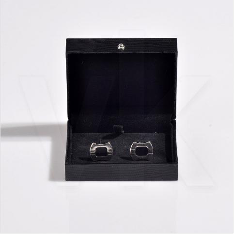 - Deri Kol Düğmesi Kutusu 8x7 cm Siyah Kare