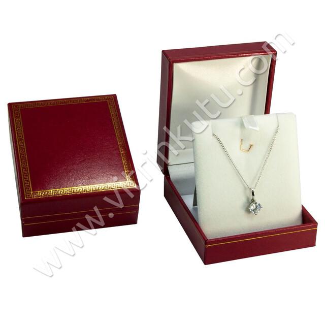 - Deri Kolye Kutusu 7.5x10.5 cm Kartier Kırmızı