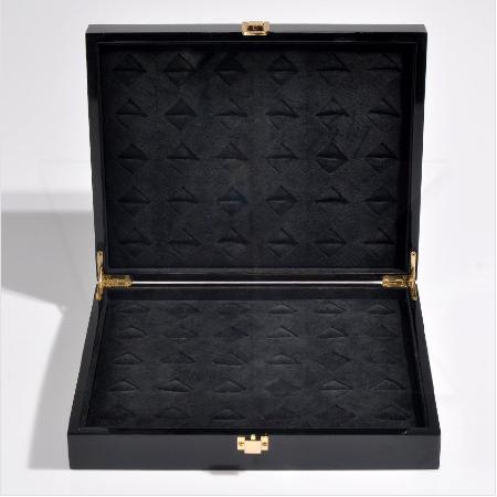 - Çoklu Kol Düğmesi Kutusu 30x24 cm Ahşap Cilalı Siyah