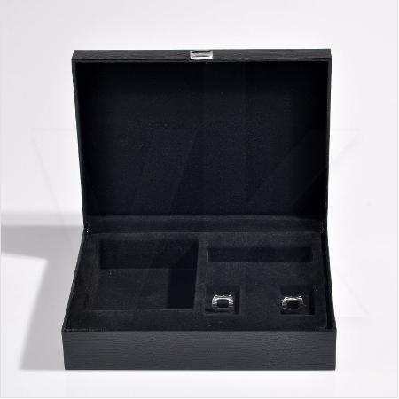 - Deri Kravat Cüzdan Kol Düğmesi Kutusu 24x18 cm Hediyelik Siyah
