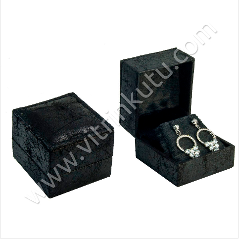 - Deri Küpe Kutusu 6.5x6 cm Siyah