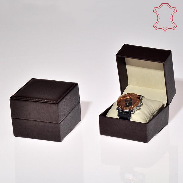- Deri Saat Kutusu 10x10 cm Yastıklı Kahverengi