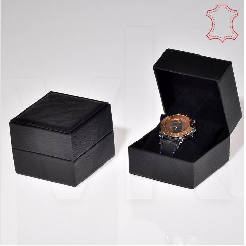 - Deri Saat Kutusu 10x10 cm Yastıklı Siyah