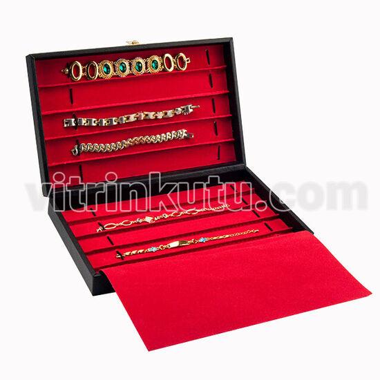 Deri Tesbih ve Bileklik Takı Kutusu 10 Kanallı Siyah/Kırmızı