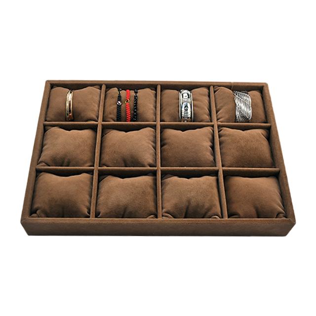 - Düz Bileklik Takı Tablası 12 Yastıklı Kahverengi