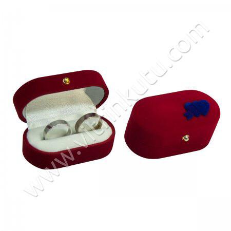 - Flok Oval Alyans Kutusu Üstü Kalpli Kırmızı