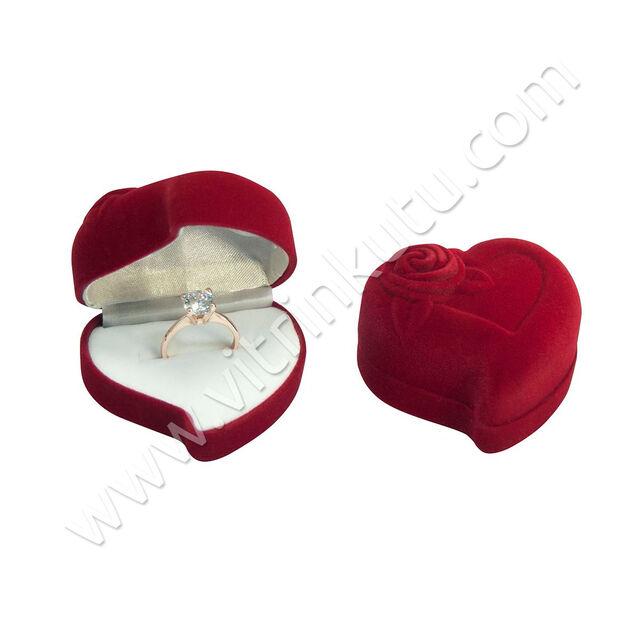 - Flok Yüzük Kutusu Kalpli 6x6 cm Gül Kabartmalı Kırmızı