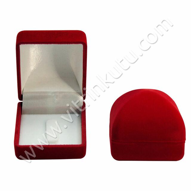 - Flok Yüzük Kutusu Tabut 4.5x5 cm Kırmızı