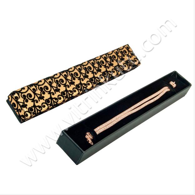 - Floklu Bileklik Takı Kutusu Sarmaşık Desenli Gold