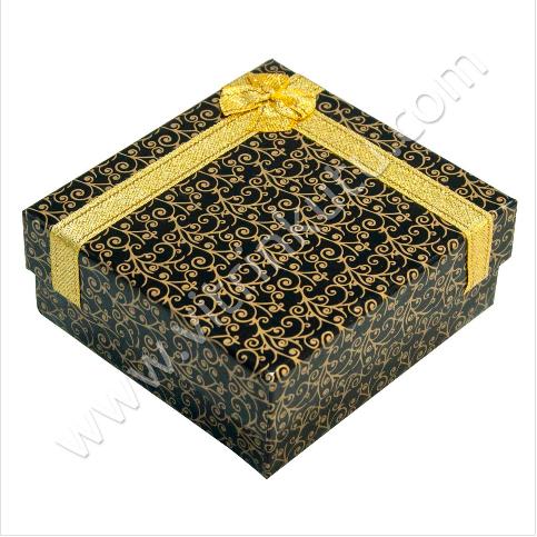 - Bilezik Kelepçe Kutusu 10x10 cm Karton Kurdeleli Siyah