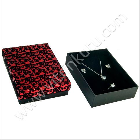 - Floklu Üçlü Set Kutusu 13x10 cm Karton Kırmızı