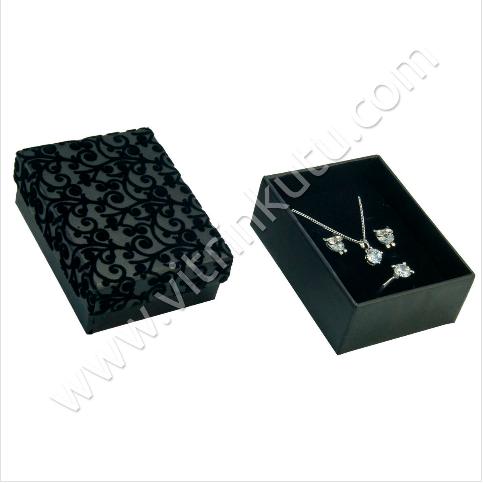 - Floklu Üçlü Takım Kutusu 6.5x8.5 cm Siyah 12'li Paket