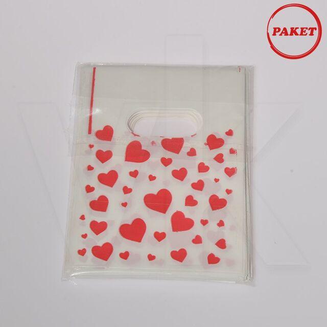 - Hediyelik El Geçme Poşet Kalp Baskılı 100'lü Paket