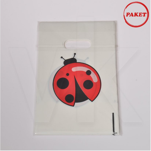 - Hediyelik El Geçme Poşet Uğur Böceği Baskılı 100'lü Paket