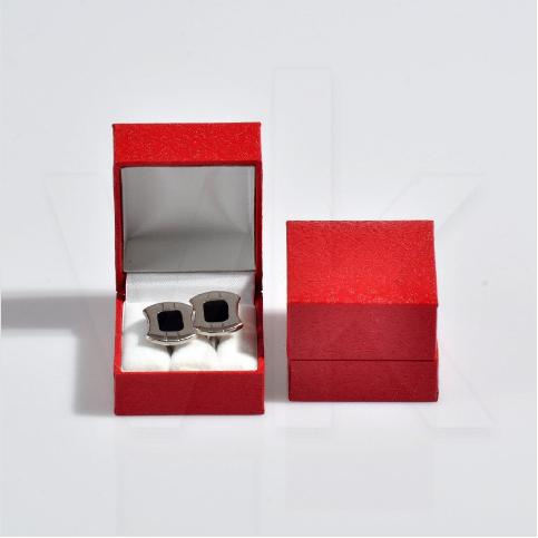 - Kol Düğmesi Kutusu 5x5.5 cm Desenli Deri Kartier Kırmızı