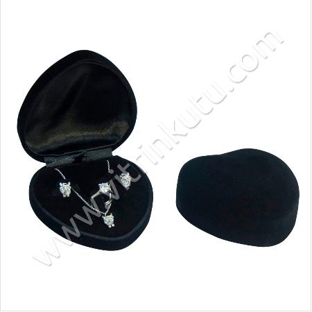 - Kalpli Üçlü Set Kutusu 10x10 cm Flok Siyah