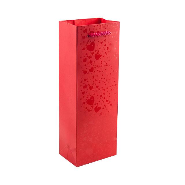- Karton Çanta 10x27 cm Kırmızı Kalpli (12'li Paket)