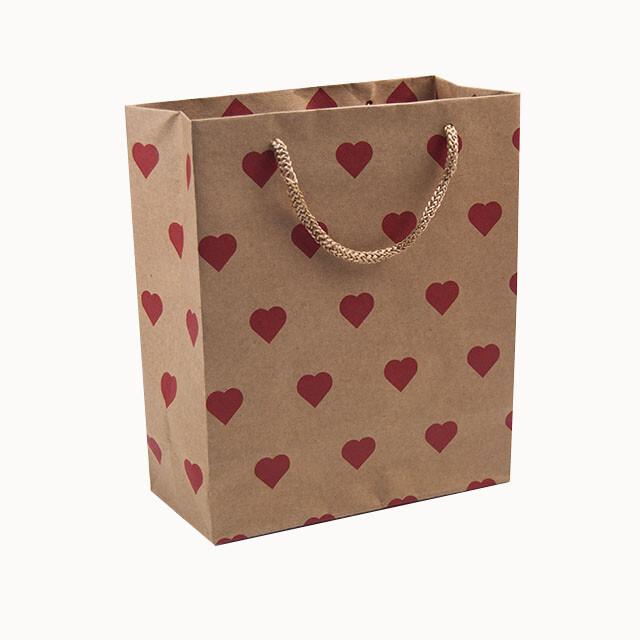 - Karton Çanta 18x21 cm Kalp Desenli 12'li Paket
