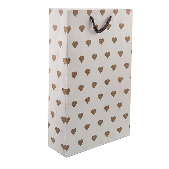 - Karton Çanta 24x38 cm Kalp Desenli (12'li Paket)