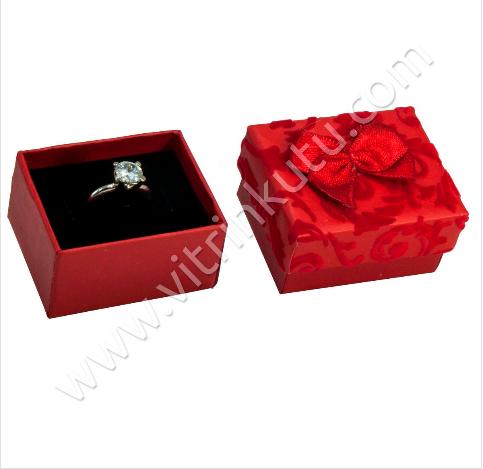 - Karton Flok Sarmaşık Kurdelalı Yüzük Kutusu Kırmızı 12'li Paket