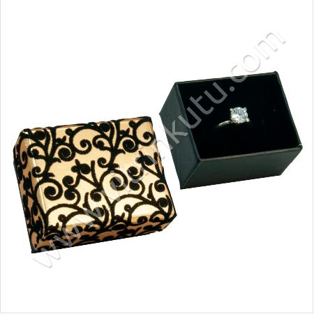 - Karton Flok Sarmaşıklı Yüzük Kutusu Sarı 12'li Paket