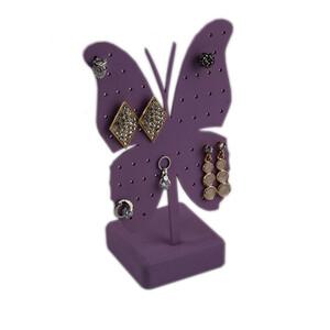 - Kelebek Figürlü Metal Küpelik Eflatun