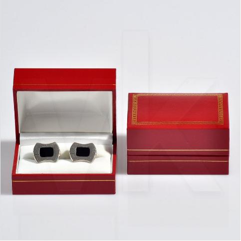 - Kol Düğmesi Kutusu 7.5x5 cm Yaldız İşlemeli Kartier Kırmızı
