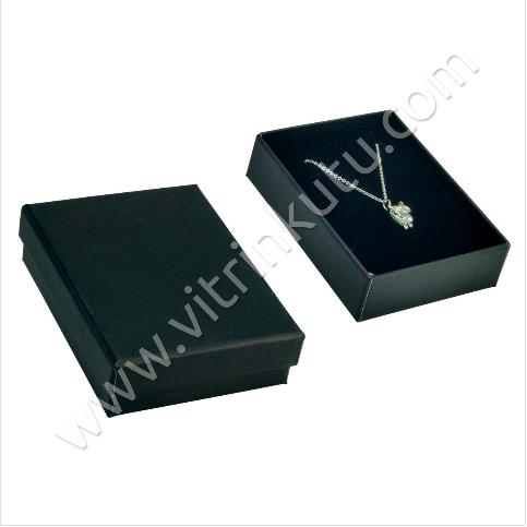 - Kolye Takı Kutusu 6x8 cm Karton Düz Siyah 12 li paket