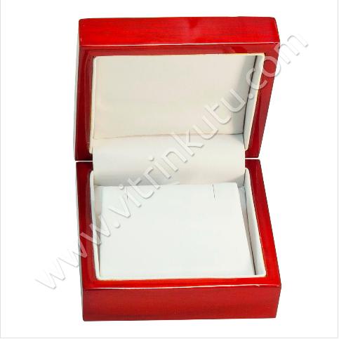 - Küpe Takı Kutusu 7.5x7.5 cm Ahşap Cilalı